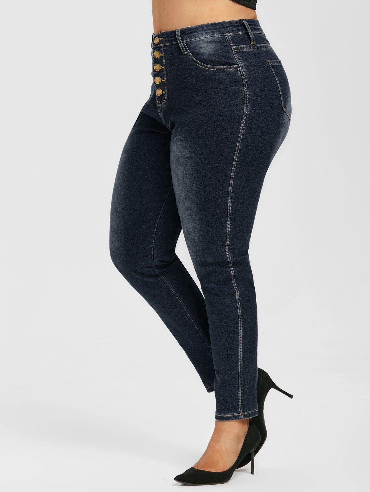 Button Fly High Waisted Plus Size Skinny Jeans - DEEP BLUE 2XL