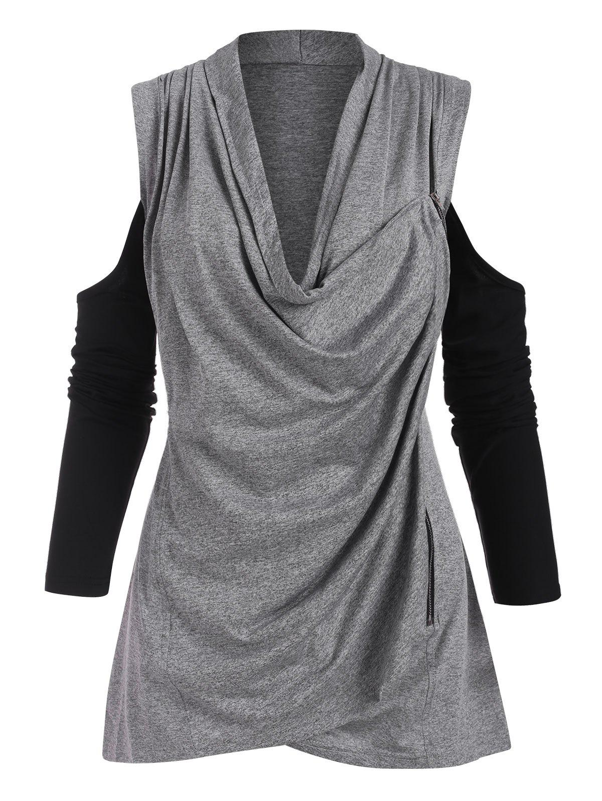 Cowl Neck Zippered Front Cold Shoulder Top - GRAY XXXL