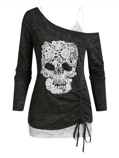 Skull Lace Pattern Cinched Hem Two Piece T Shirt