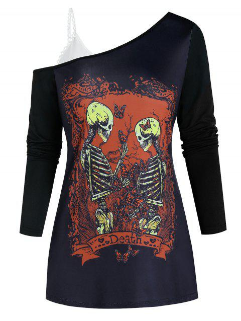 Open Shoulder Skeleton Graphic Two Piece Gothic T Shirt