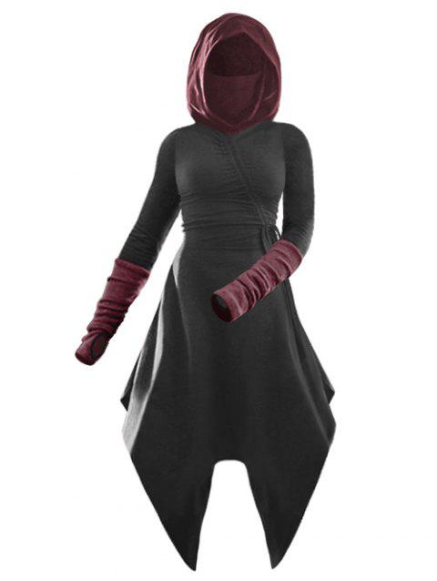 Hooded Cinched Asymmetrical Thumbhole Contrast Dress