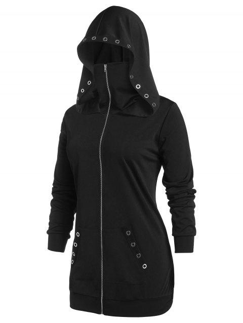 Plus Size Hooded Grommet Pocket Zipper Up Coat