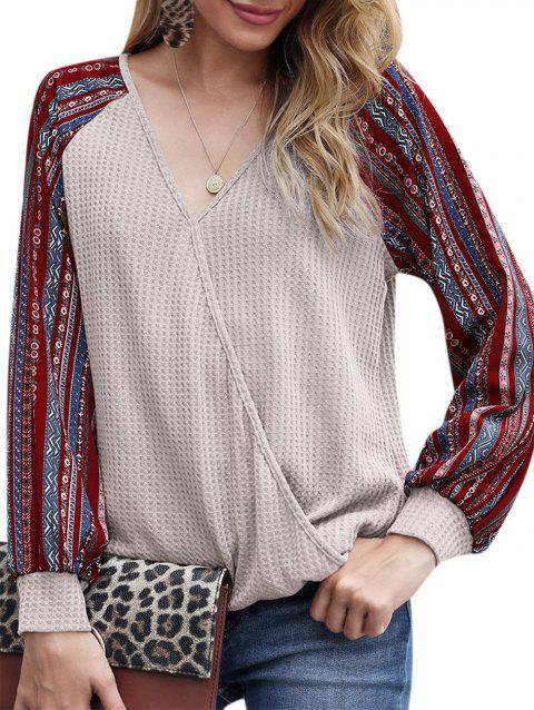 Raglan Sleeve Tribal Print Surplice Knitwear