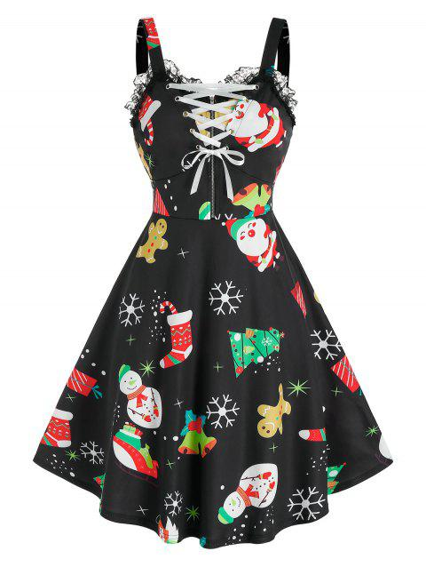 Christmas Printed Lace Up Dress