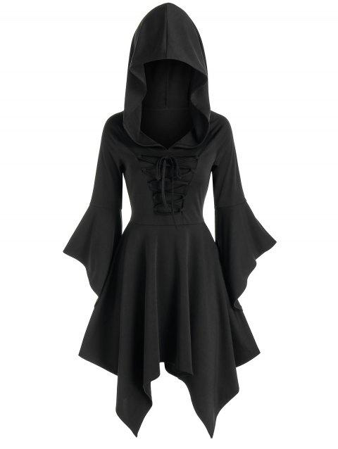 Hooded Flare Sleeve Lace-up Handkerchief Dress