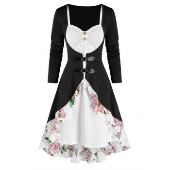 Flounce Buckled Floral Cardigan and Dress Set