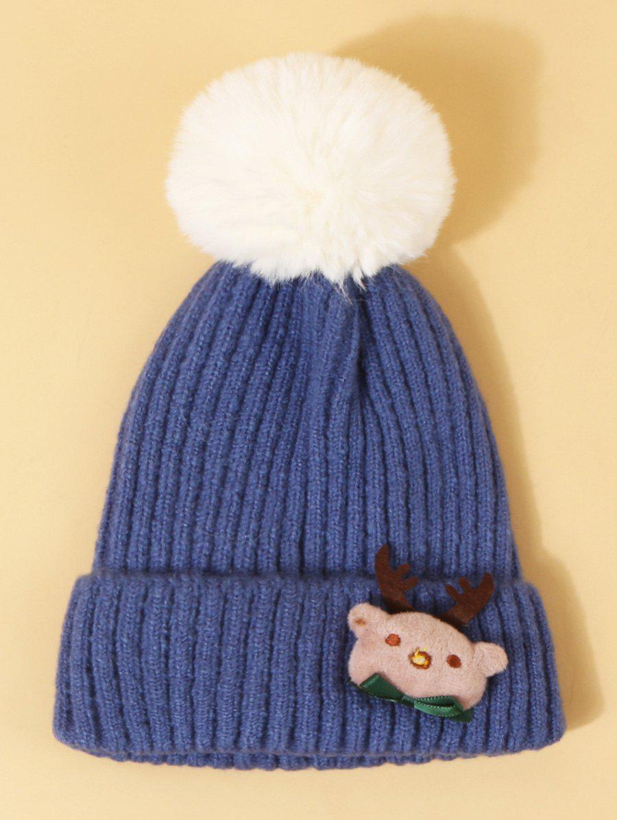 Christmas Elk Design Knitted Pom Pom Hat - DODGER BLUE