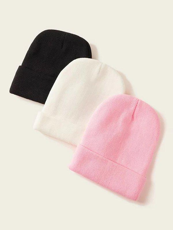 3Pcs Solid Elastic Knitted Hat Set - multicolor B