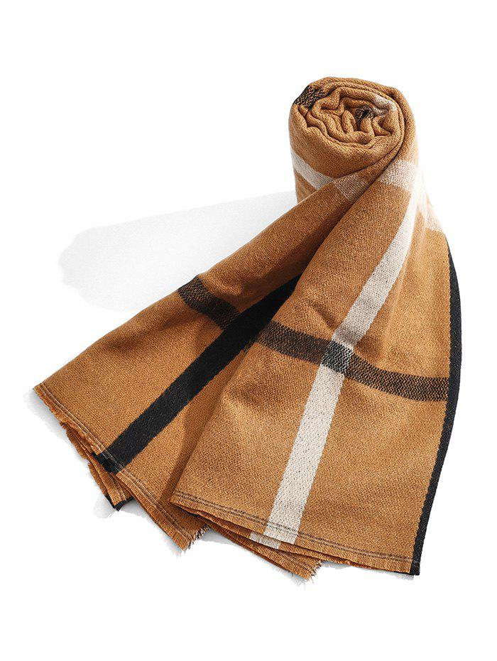 Checkered Pattern Winter Long Scarf - COFFEE