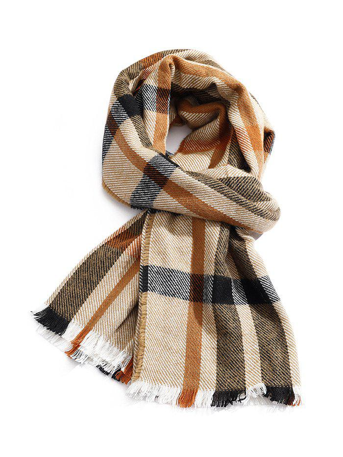 Plaid Pattern Fringe Faux Cashmere Long Scarf - DARK KHAKI