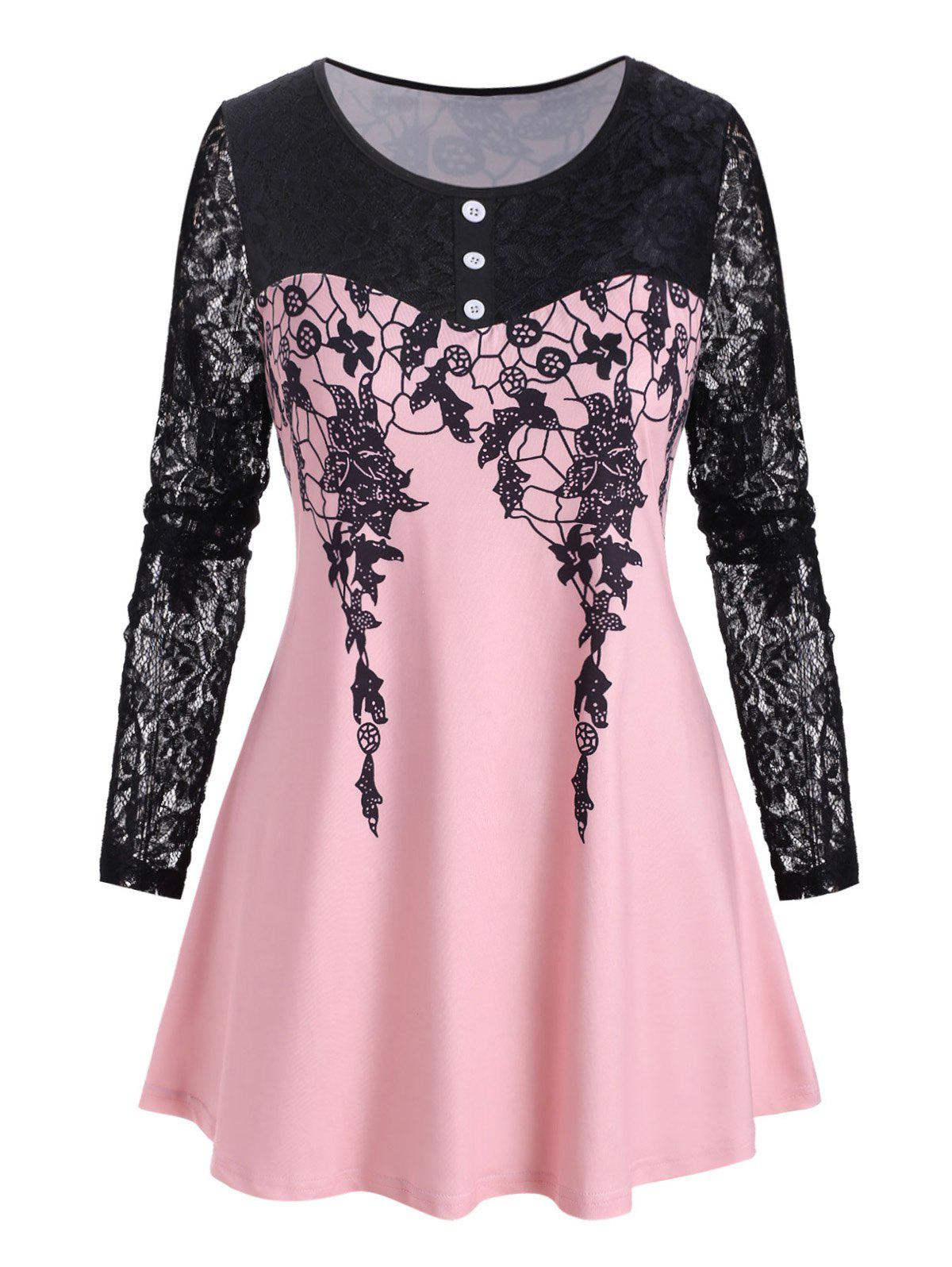 Plus Size Printed Lace Sleeve T Shirt - LIGHT PINK 5X