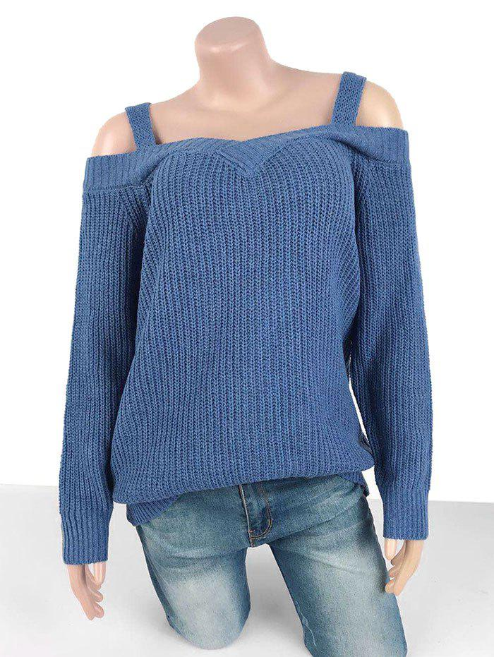 Plus Size Cold Shoulder Chunky Sweater - BLUE XL