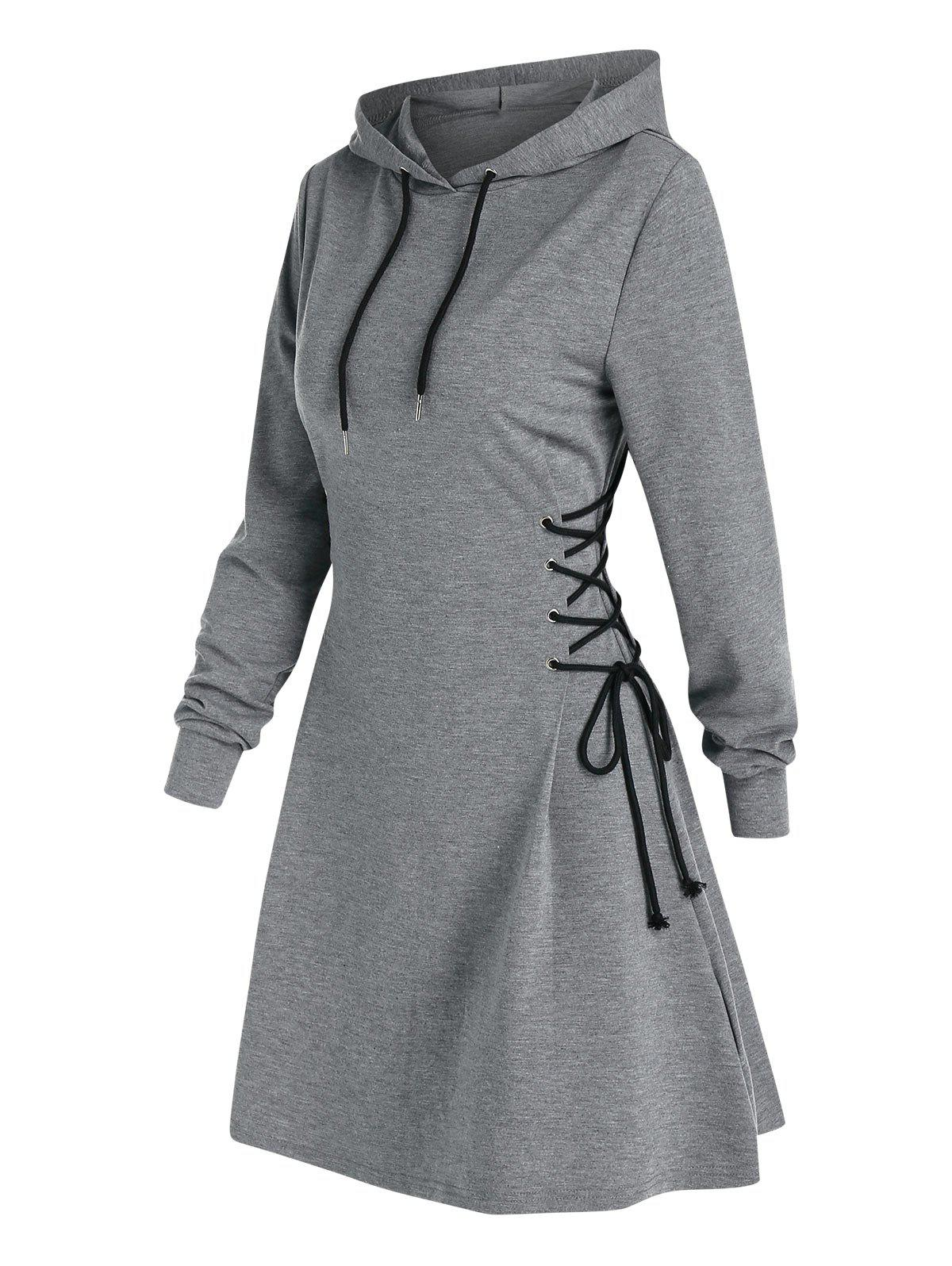 Lace Up Mini Hoodie Dress - LIGHT GRAY XL