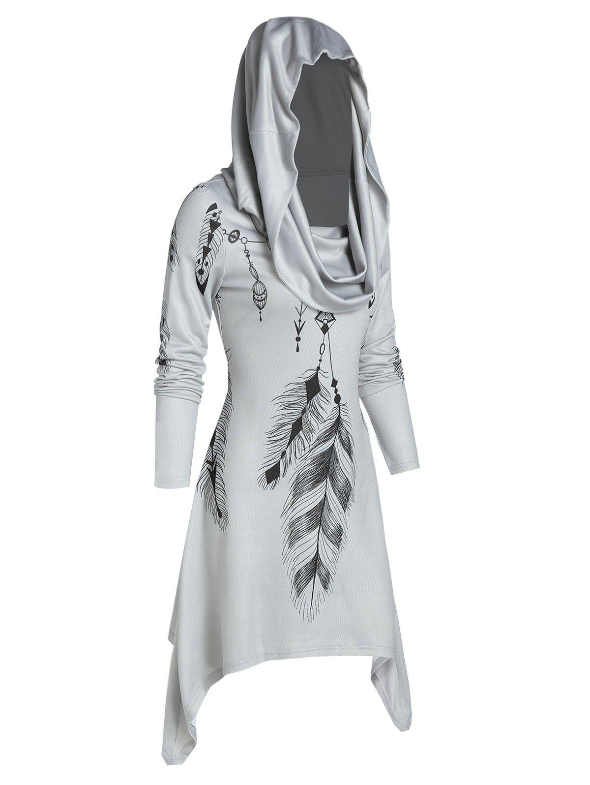 Hooded Feather Print Convertible Dress - LIGHT GRAY M