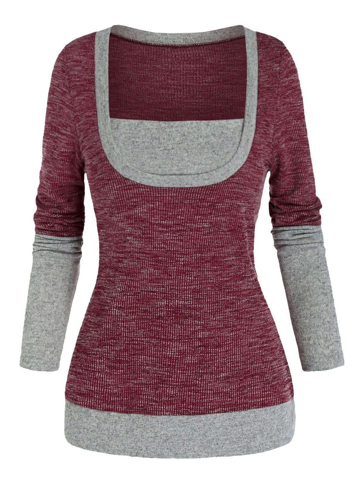 Contrast Trim Square Neck Knitted Long Sleeve T Shirt - RED WINE XL