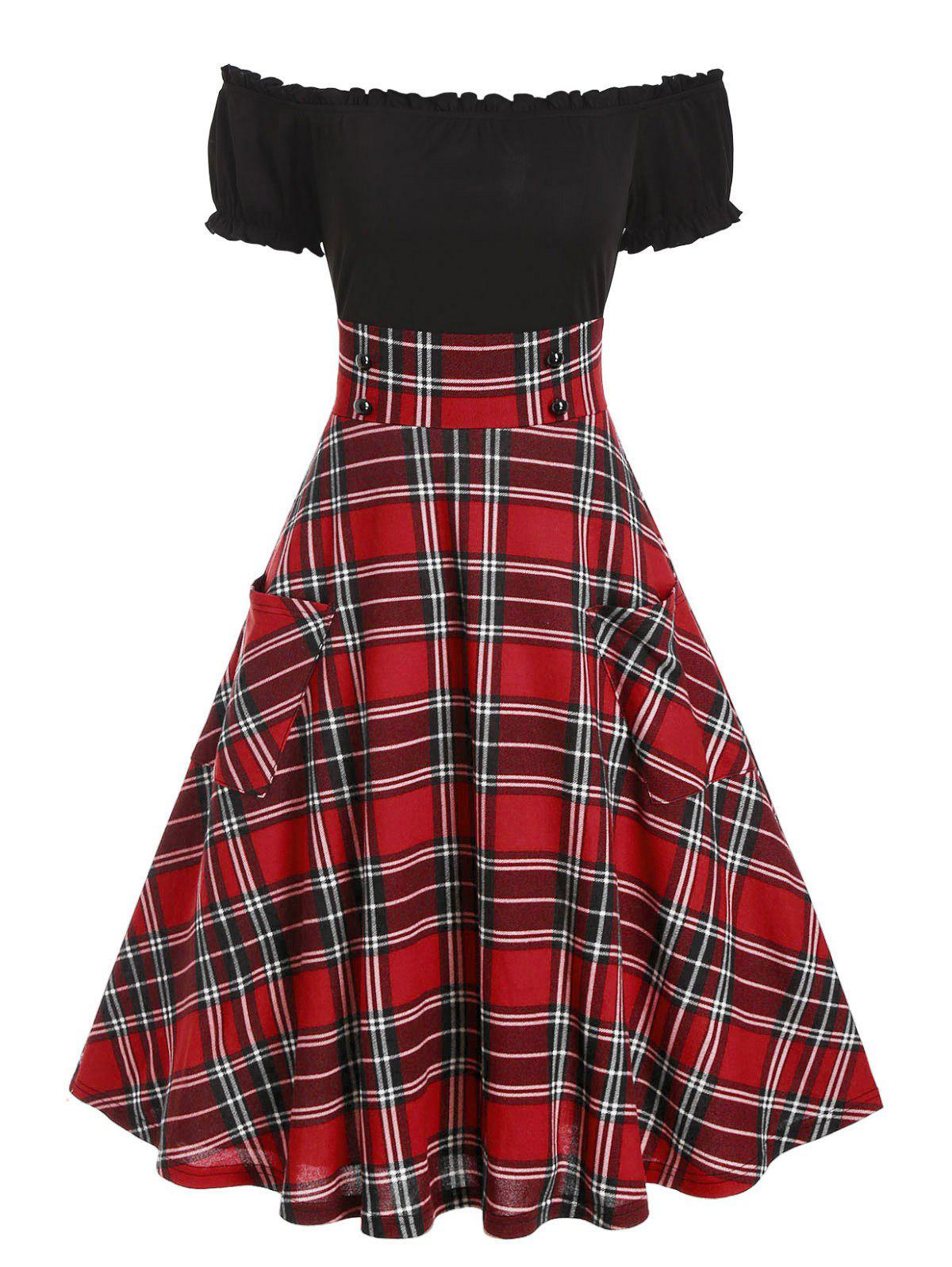 Off The Shoulder Plaid Print Double Pockets Dress - CHERRY RED M