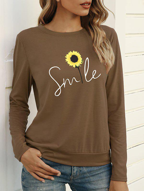 Sunflower Smile Graphic Long Sleeve T-shirt - COFFEE M