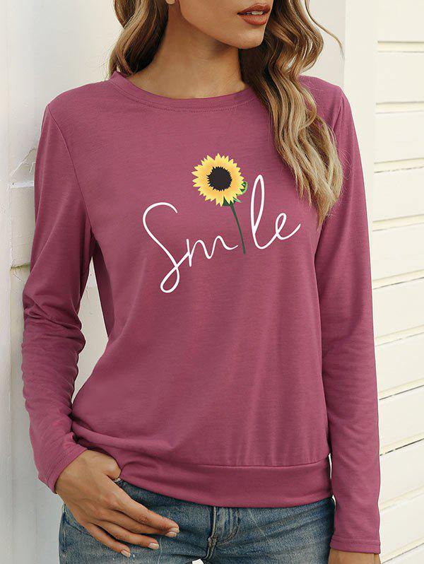 Sunflower Smile Graphic Long Sleeve T-shirt - LIGHT PINK S