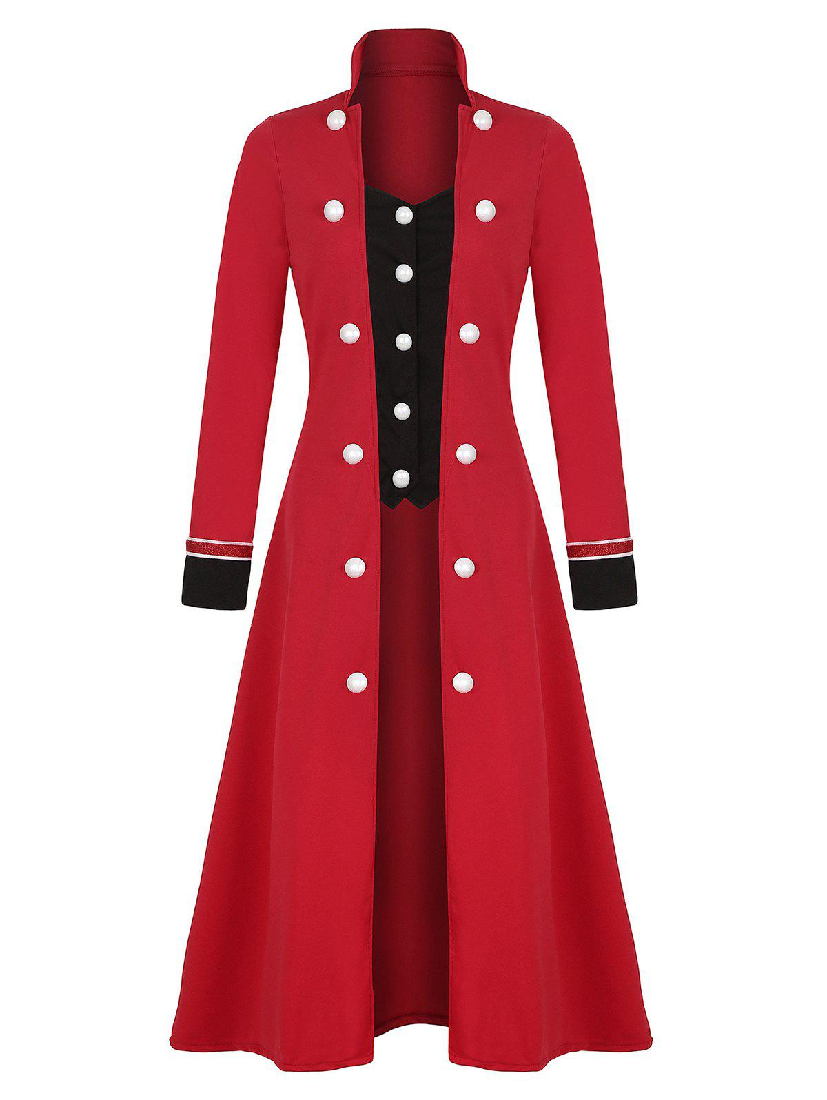 Plus Size Double Breasted Long Coat - RED 2XL