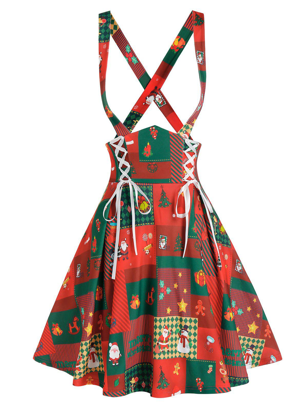 Lace Up Christmas Printed Suspender Skirt - RED M