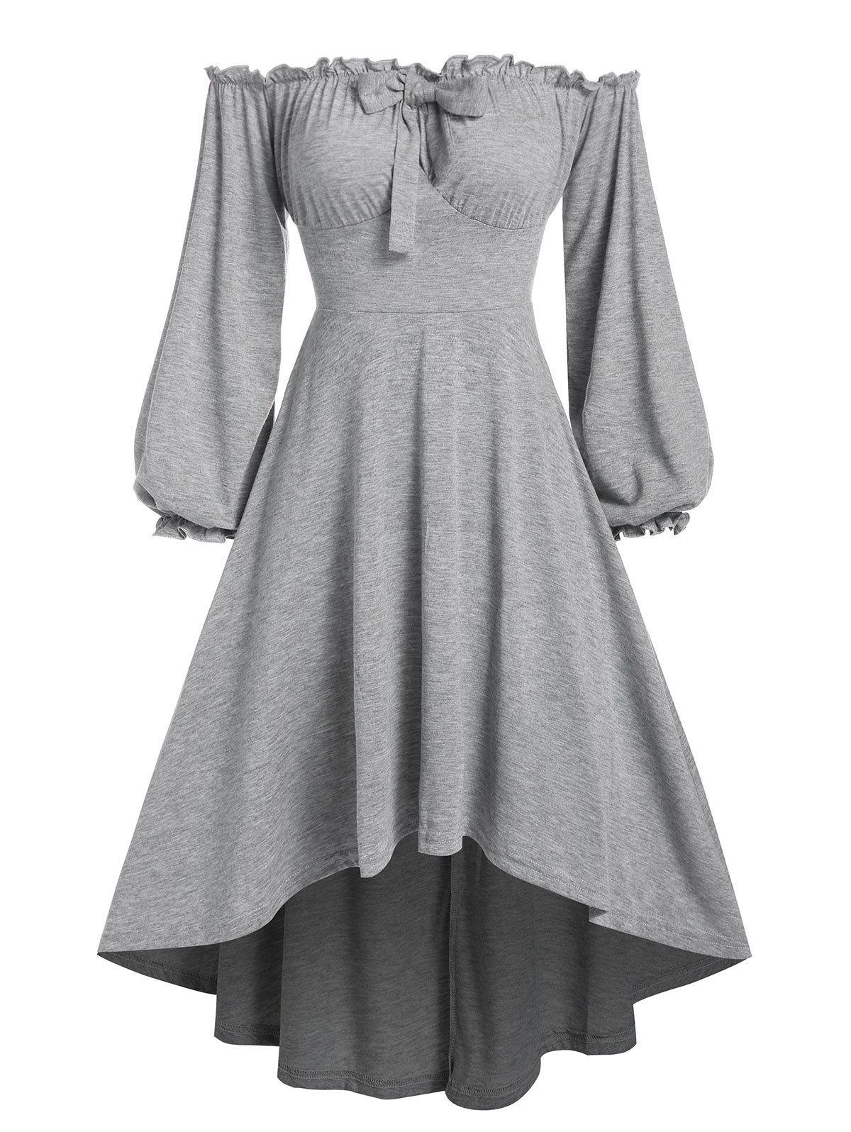 Off The Shoulder Bowknot High Low Dress - GRAY M