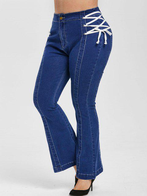 Plus Size Lace Up Flared Jeans