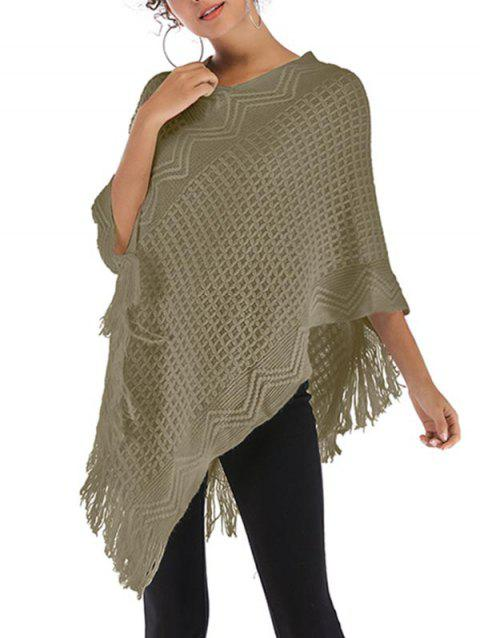 Convertible Fringed Poncho Sweater