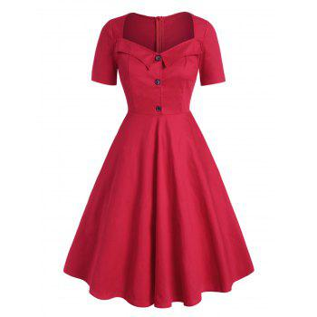 Plus Size Vintage Half Button Fit and Flare Dress