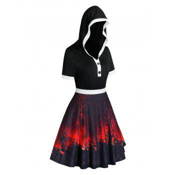 Plus Size Halloween Printed Hooded Fit and Flare Dress