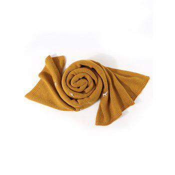 Embroidery Elk Pattern Knitted Long Scarf