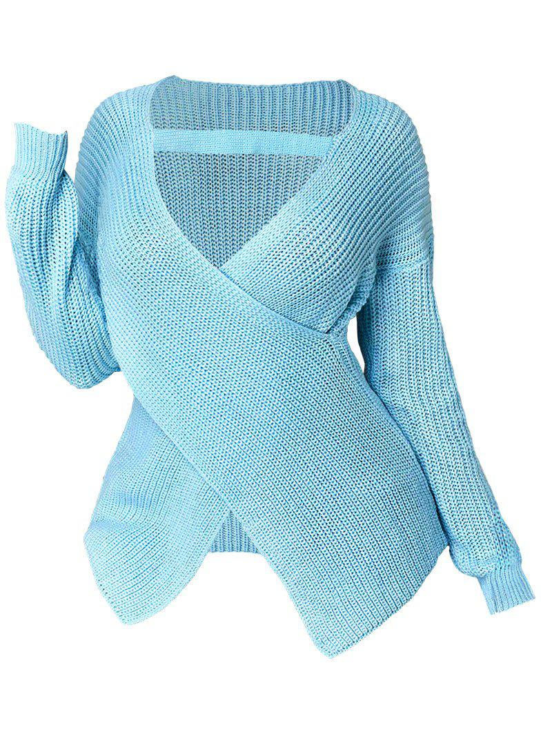 Plus Size Plunging Neckline Crossover Sweater - LIGHT BLUE 3X