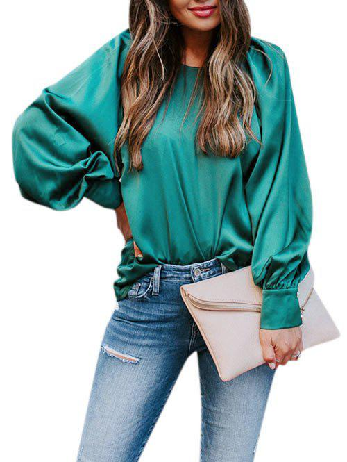 Solid Lantern Sleeve Satin Blouse - GREEN XL