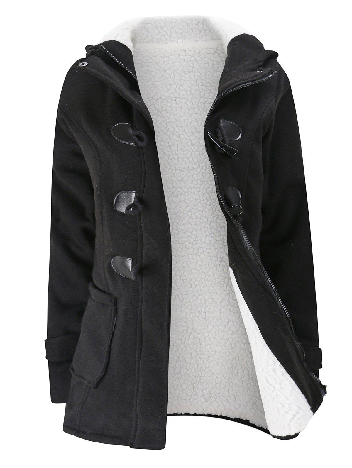 Plus Size Hooded Faux Shearling Lined Duffle Coat - BLACK 4XL