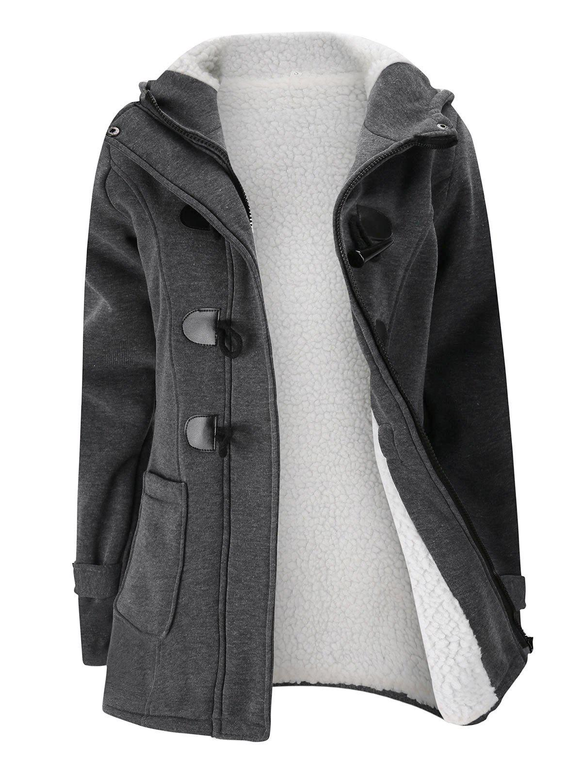Plus Size Hooded Faux Shearling Lined Duffle Coat - DARK GRAY 1XL
