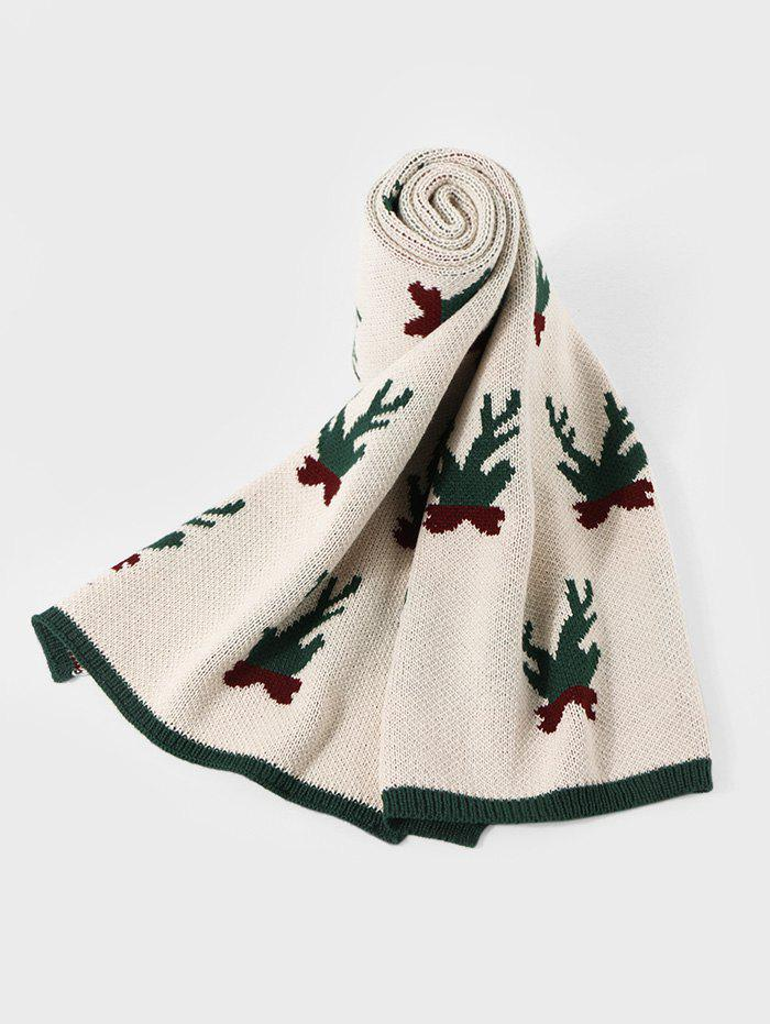 Christmas Pattern Colorblock Knitted Long Scarf - BEIGE