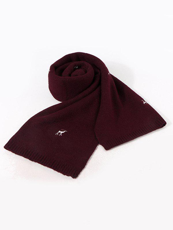 Embroidery Elk Pattern Knitted Long Scarf - DEEP RED