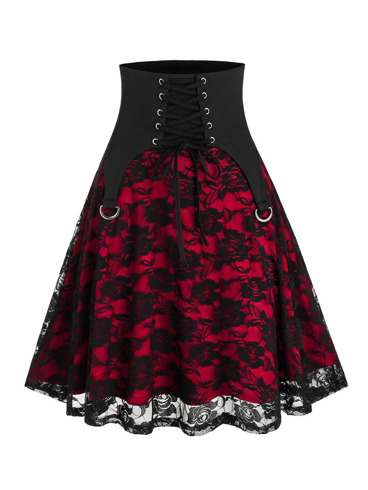 Halloween Lace-up Punk Lace Skirt - BLACK XL