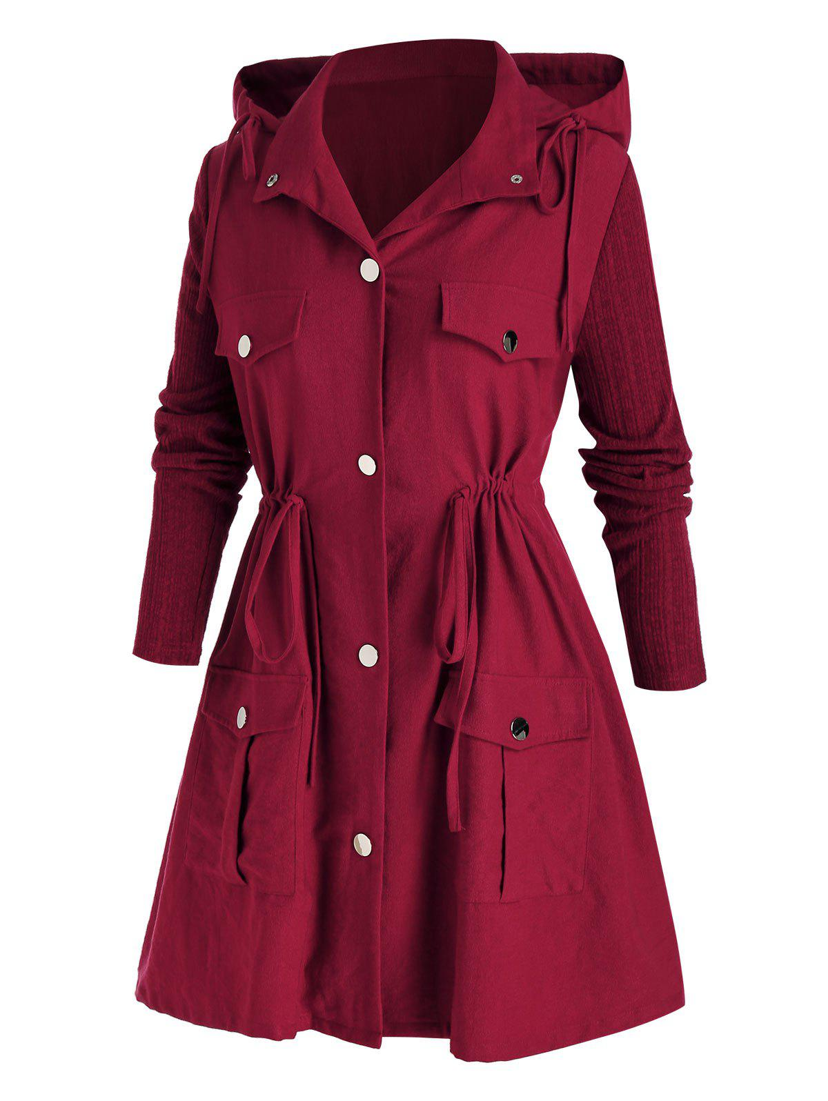 Plus Size Hooded Drawstring Waist Flap Pocket A Line Coat - RED WINE 3X