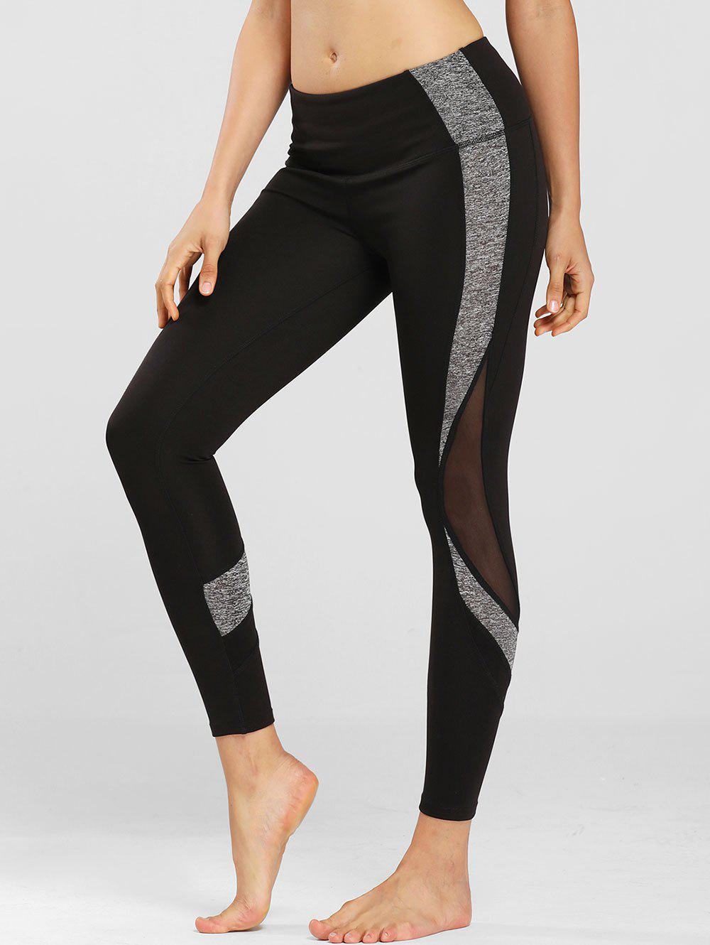 Mesh Panel Space Dye Side Sports Leggings - BLACK S