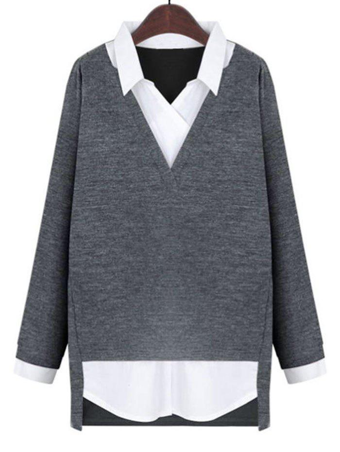 Plus Size 2 in 1 Top - GRAY 4XL