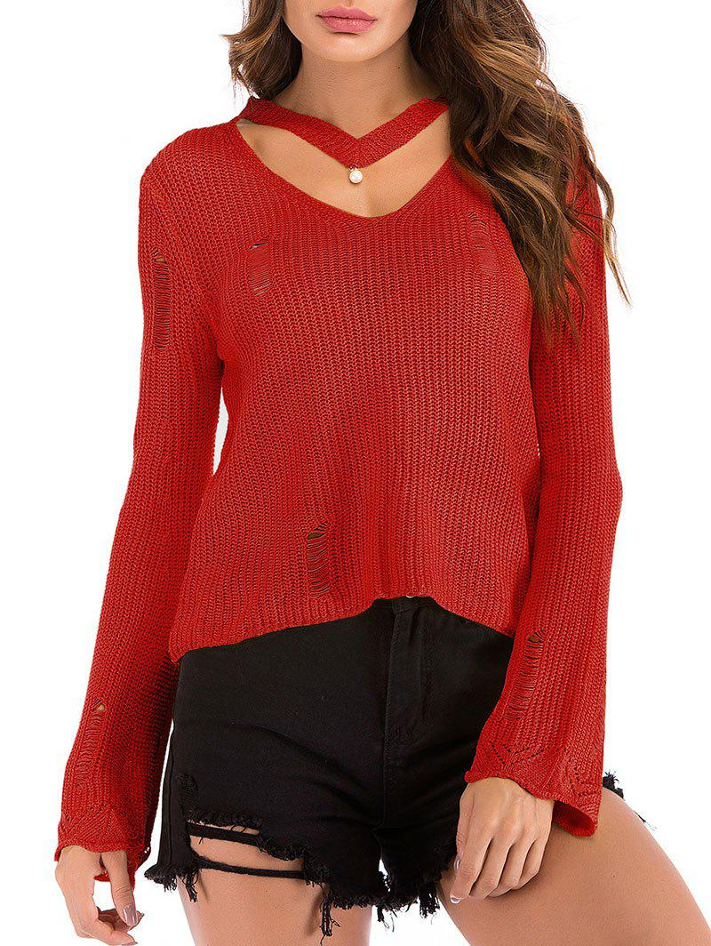 Beading Choker Ripped Bell Sleeve Sweater - RED M