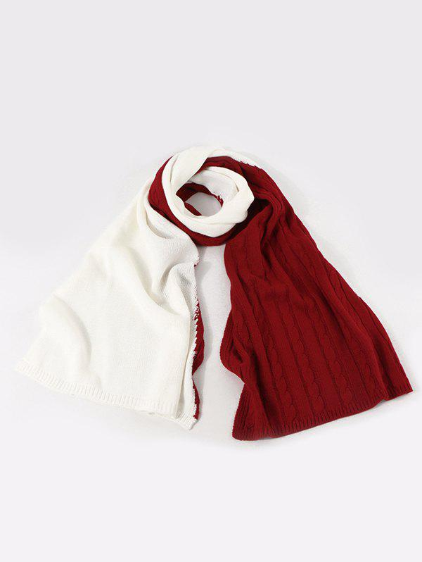 Contrast Knitted Long Scarf - LAVA RED