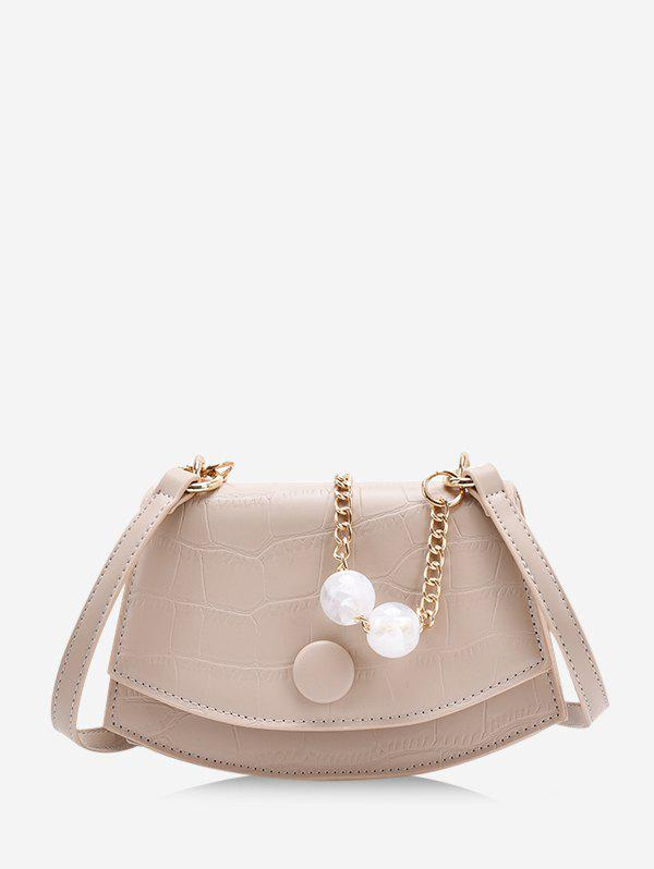 Retro Cover Chain Beads Crossbody Bag - LIGHT KHAKI