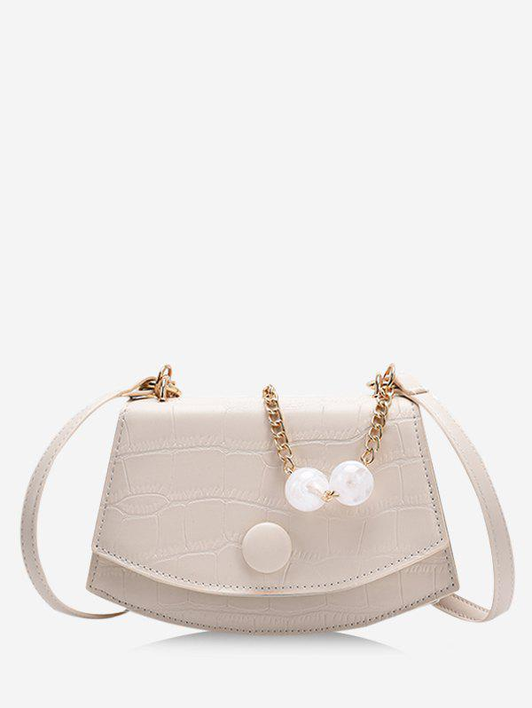 Retro Cover Chain Beads Crossbody Bag - WHITE