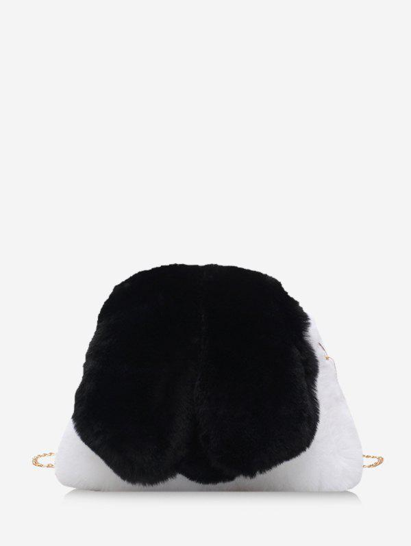 Faux Fur Rabbit Shape Chain Crossbody Bag - BLACK