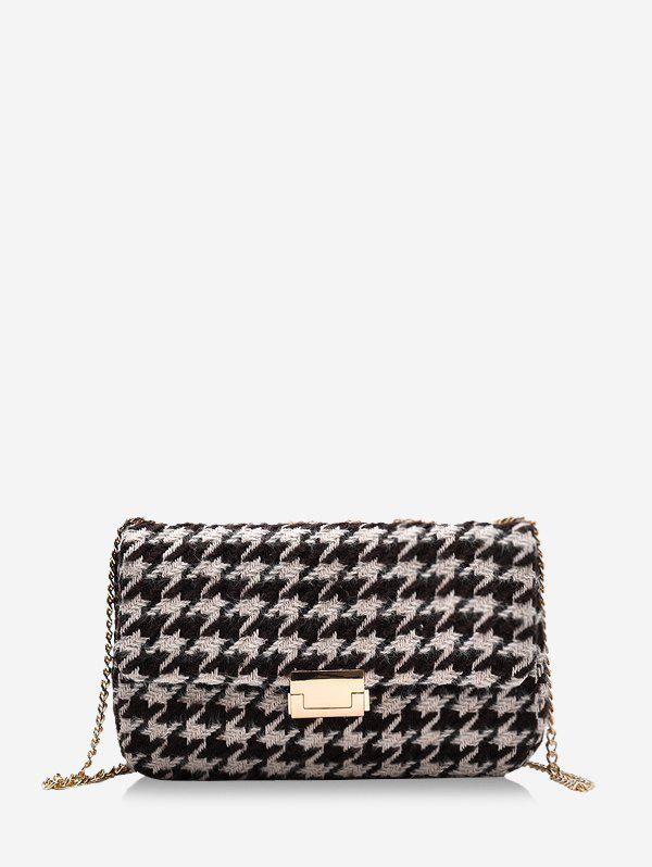 Checked Pattern Messenger Bag - COFFEE