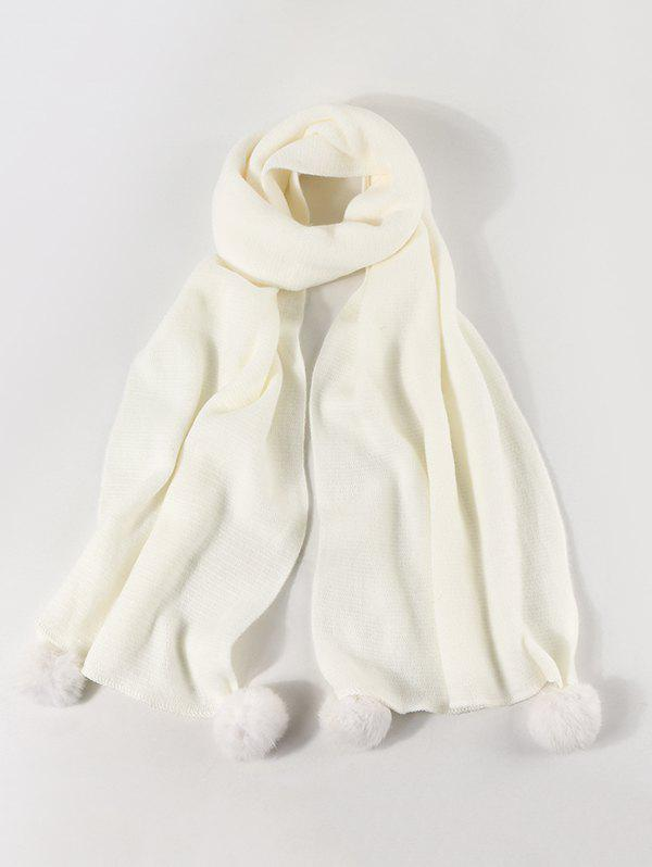 Faux Cashmere Knitted Pom Pom Scarf - WHITE
