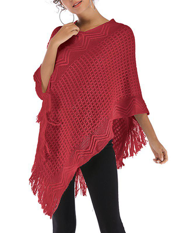 Convertible Fringed Poncho Sweater - RED WINE ONE SIZE