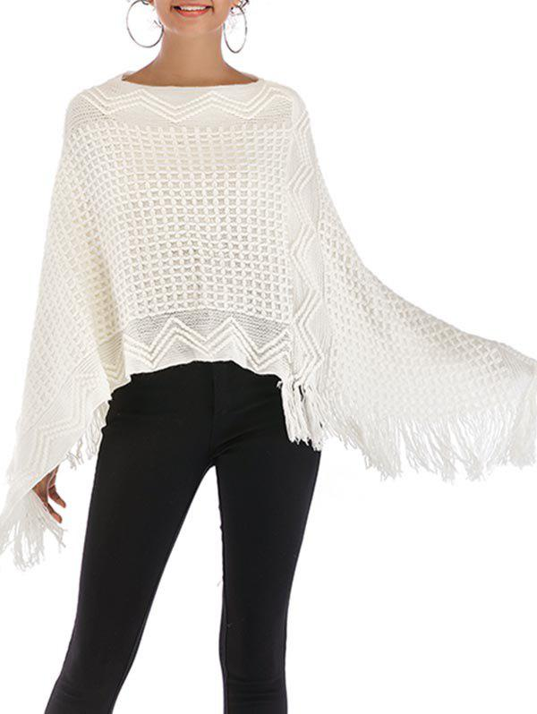 Convertible Fringed Poncho Sweater - MILK WHITE ONE SIZE
