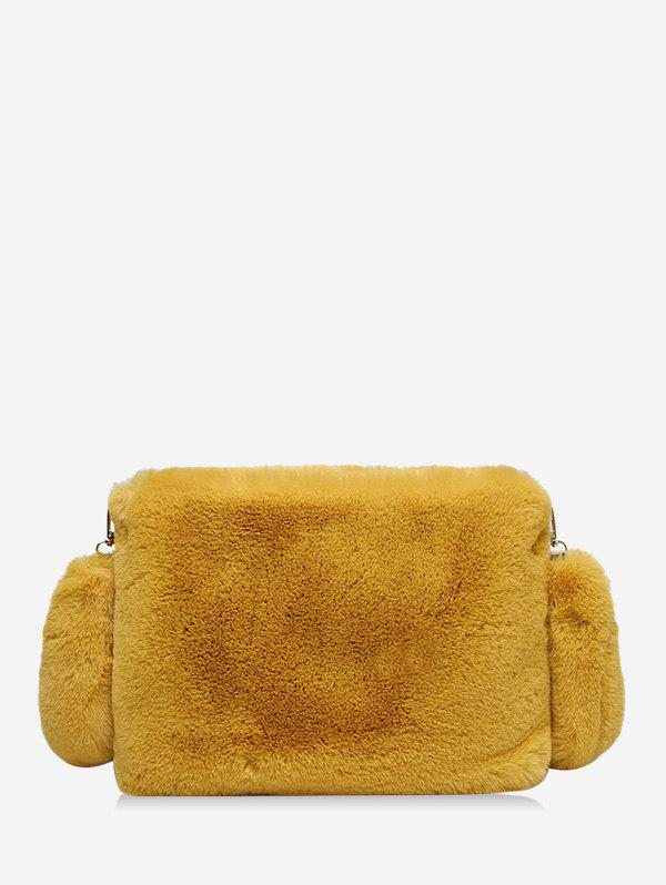 Solid Faux Fur Rectangle Crossbody Bag - YELLOW